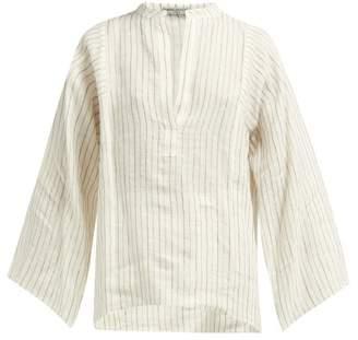 Three Graces London Angelique Striped Slubbed Top - Womens - Cream Multi