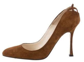 Brian Atwood Suede Semi Pointed-Toe Pumps