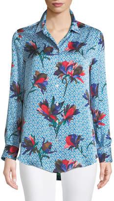 Equipment Essential Geometric Bloom Print Silk Shirt