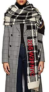 Calvin Klein Women's Plaid Chunky-Knit Wool Blanket-Scarf-White Black Dark Brown