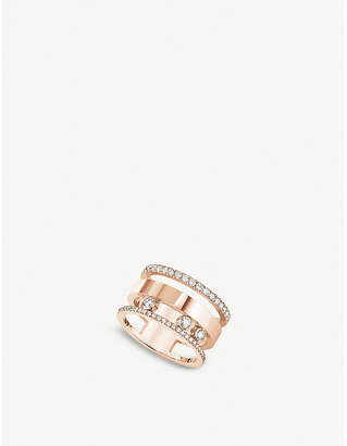 Rosegold Messika Move Romane large 18ct rose-gold and diamond ring