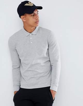 Emporio Armani long sleeve logo polo in gray