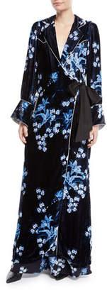 Johanna Ortiz New Sunrise Floral-Print Velvet Kimono Coat w/ Side Tie