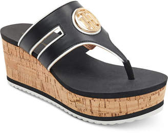Tommy Hilfiger Galley Thong Platform Wedge Sandals Women's Shoes