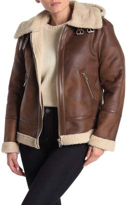 AVEC LES FILLES Faux Leather Hooded Faux Shearling Lined Aviator Jacket