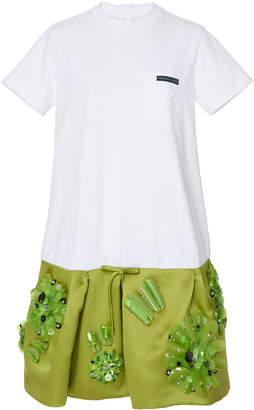 Prada Drop-Waist Embellished T-Shirt Dress