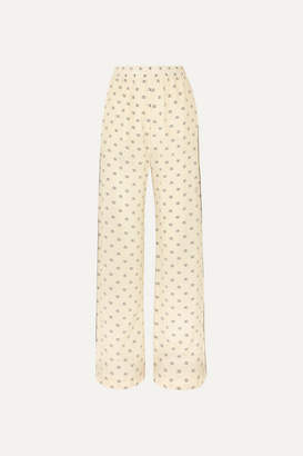 Valentino Piped Printed Silk Crepe De Chine Pants - Ivory