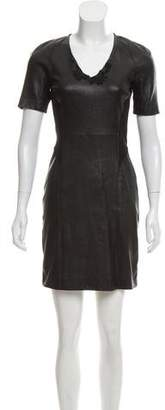 Theory Short Sleeve Leather Dress