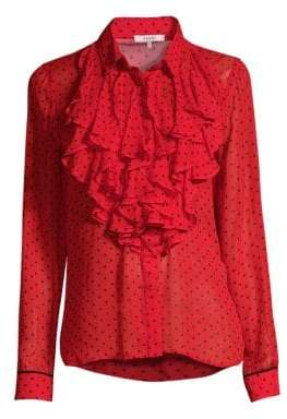 Ganni Printed Georgette Ruffle Front Blouse