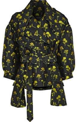 Simone Rocha Belted Floral-Jacquard Jacket