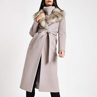 River Island Grey belted faux fur robe coat