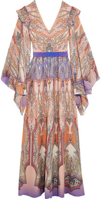 Etro - Ruffled Printed Silk-georgette Gown - Blush $3,670 thestylecure.com