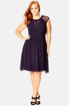 City Chic Dark Romance Lace Detail Dress