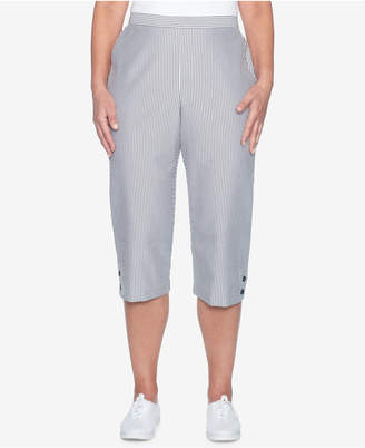 Alfred Dunner Petite Striped Seersucker Capri Pants