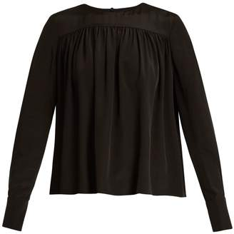 Diane von Furstenberg Gathered double-cuff silk-georgette blouse