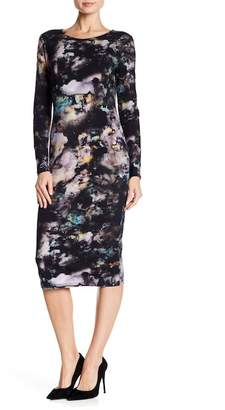 Catherine Malandrino Digital Patterned Crew Neck Midi Dress