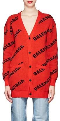 Balenciaga Women's Logo Virgin Wool Cardigan