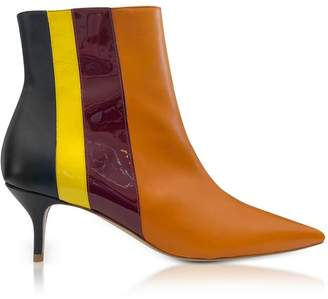 DELPOZO Vertical Stipes Tan Leather Mid-heel Booties