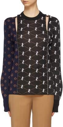 Chloé Cutout patchwork graphic print long sleeve top
