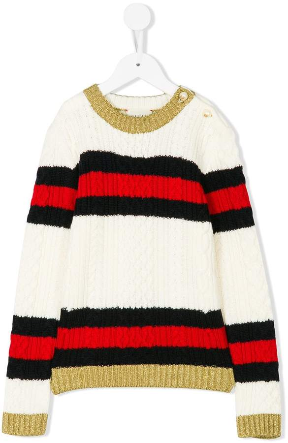Gucci Kids striped cable knit sweater