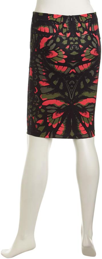 McQ by Alexander McQueen Floral-Print Stretch Skirt, Pink/Black