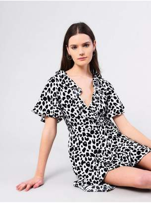 Glamorous Womens **Animal Spot Wrap Dress