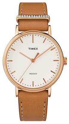 Swarovski TIMEX BOUTIQUE Analog Fairfield Tan Leather Strap Watch