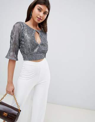 PrettyLittleThing tie back pleated glitter crop top in silver