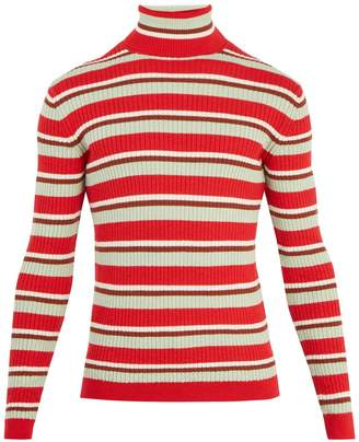 Gucci Striped roll-neck ribbed-knit wool sweater