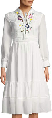Few Moda Vacation Embroidered Tie-Neck Skater Dress