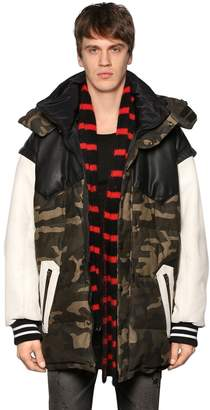 Faith Connexion Oversize Canvas & Leather Down Jacket