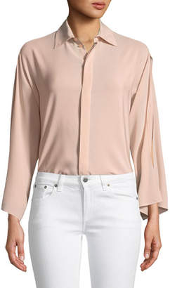 Ralph Lauren Karen Split-Sleeve Silk Blouse, Blush