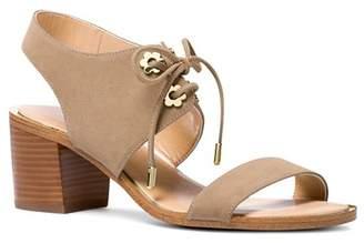 MICHAEL Michael Kors Women's Estela Suede Ankle Tie Block Heel Sandals
