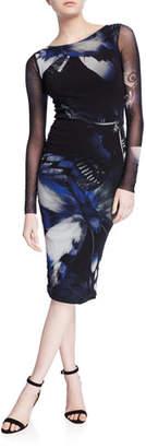 Fuzzi Butterfly Long-Sleeve Fitted Knee-Length Dress