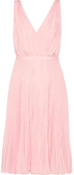 pradaPrada - Wrap-effect Plissé-crepe De Chine Dress - Baby pink