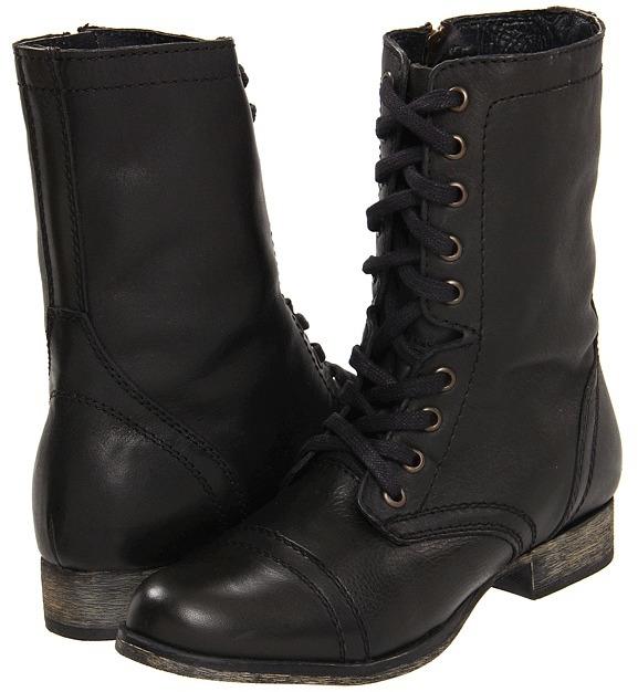 Steve Madden - Troopa (Black Leather) - Footwear