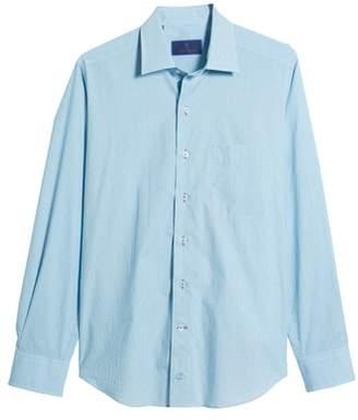 David Donahue Regular Fit Fine Stripe Print Sport Shirt