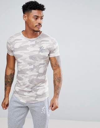 Gym King Muscle T-Shirt In Stone Camo