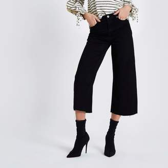 River Island Womens Black Alexa cropped wide leg jeans