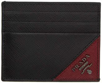 Prada (プラダ) - Prada ブラック & レッド サフィアーノ ロゴ カード ホルダー