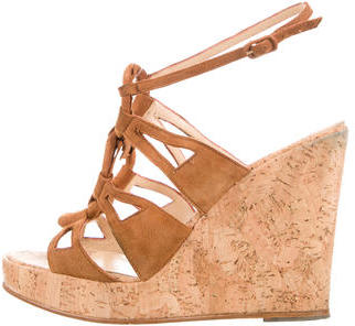 Christian Louboutin  Christian Louboutin Suede Wedge Sandals