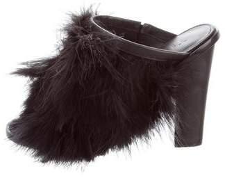 Tibi Bee Feather Slide Sandals
