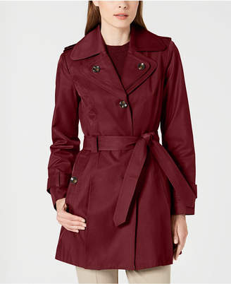 London Fog Hooded Double Collar Belted Raincoat
