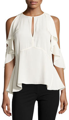 Theory Desiraya Cold-Shoulder Classic Georgette Top $165 thestylecure.com