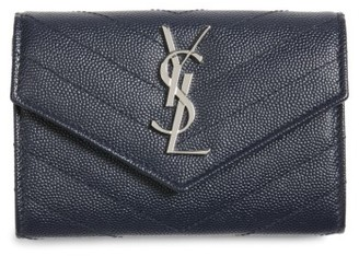 Women's Saint Laurent 'Small Monogram' Leather French Wallet - Blue $425 thestylecure.com