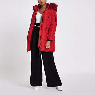 River Island Red faux fur trim longline puffer jacket