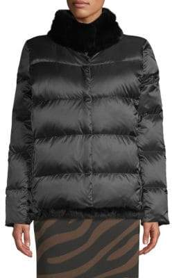 Max Mara Lepanto Rabbit Fur Collar Puffer Jacket