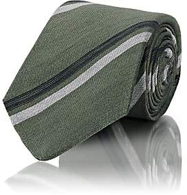 Kiton MEN'S STRIPED LINEN-SILK NECKTIE - GREEN