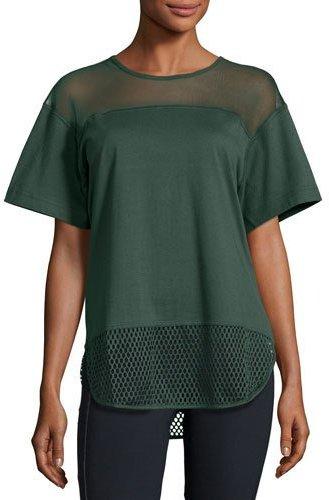 adidas by Stella McCartney Essentials Mesh T-Shirt, Deepest Green