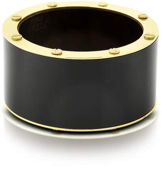 Pluma Black Resin and Brass Double Viti Large Bangle